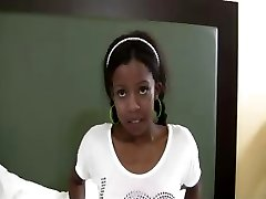 TeenyBlack Student dark-hued teen Nevaeh interracial facialized