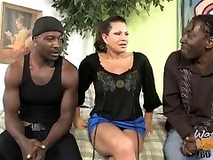 Mature mom with big boobs pummeled by two dark-hued bros