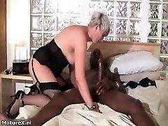 Horny grandma loves riding a big ebony part6
