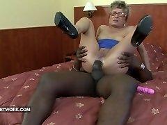 Granny caught masturbating anal fucked by big dark-hued manhood