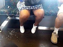 Ebony grandma on the train