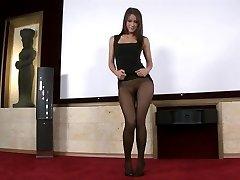 Black seamless pantyhose tease