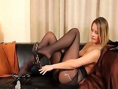 Ebony pantyhose and ultra hot panties