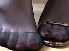 Dark-hued nylon and high heels