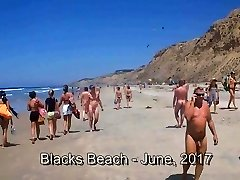 Blacks Beach CFNM - 2 Clothed Girls + 26 Naked Men