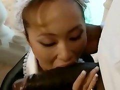 Asian french maid blows a BiG black manhood