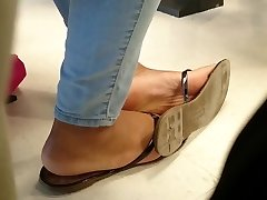 Classmate's Candid Ebony Feet in Class