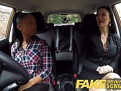 Fake Driving School big-chested ebony fails her test with lezzy