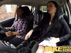 Fake Driving College busty black fails her test with lesbian
