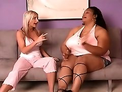 Bi-racial catfight enormous ebony vs skinny ivory
