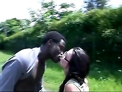French Gal pulverizes african in the car and bus stop