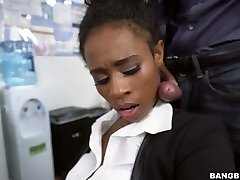 Black secretary Ivy Young fucked bad in the office