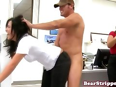 Office cfnm babes sucking off ebony stripper