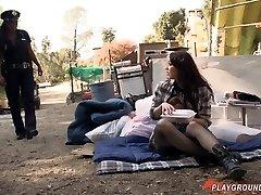 Girl-girl Ebony Officer Takes Advantage Of Homeless White Teenage