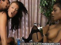 Stunning milf honey and her ebony gf gets banged hard