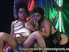Cute ebony gets bum fucked then fists her white friend.