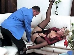 Ebony bi-atch in black fishnet stockings sucks boner
