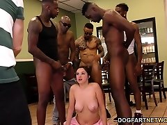 Waitress Elektra Rose Gangbanged By Black Clients