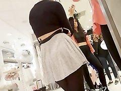 Splendid doll in mini skirt and black pantyhose upskirt