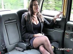 Black stocks big-titted plumbed in the fake taxi outdoor