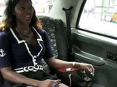 Black interracial POV fucking in faux taxi