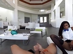 Virtual Reality pornography - fucking Chesty Black Maid