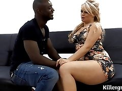 Utter bodied blonde gets black cocked
