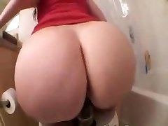 Phat Ass White Girl riding a big black fake penis on toilet
