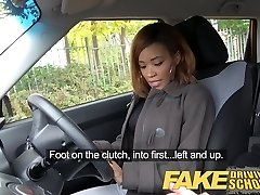 Faux Driving School young ebony learner enjoys creampie for