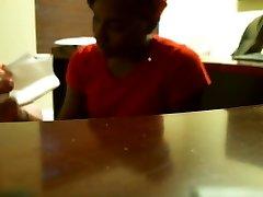 Ebony fellatio during job interview (REAL)