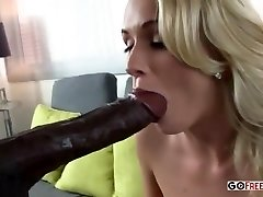 Busty Shaven Blond Craves Hefty Black Dick