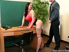 Nasty secretary with big knockers Kendra Enthusiasm fucked on the table by Richie Black