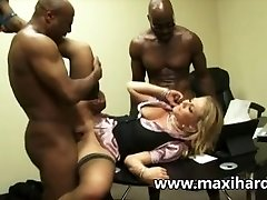 A blond secretary fucks 2 black dudes