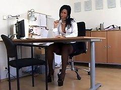 Black Nylon Secretary Intercourse (TheNylonLover)