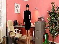 Secretary in sexy black stilettos masturbate