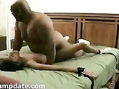 BIG fat dark-hued guy fuck skinny ebony female.