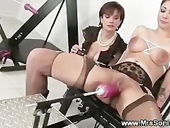 Gagged slut and her nailing machine