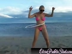 Elisa Super-naughty on the beach  ElisaPublicSlut.com