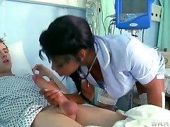 Sexy dark-hued nurse help her pacient fucking his rod