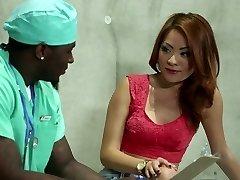 Chinese teenager nurse cuckold fucks and sucks massive black cock