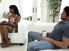 Fantastic black chick wanks and blows big white dick on the couch