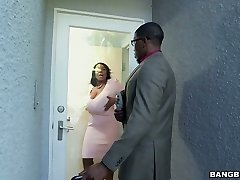 Hot ebony Plumper Maseratti fucks horny black man on the white couch