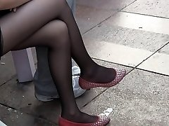 Candid Nubile Gams and Feet in Sheer Black Nylons