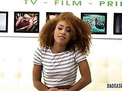 Curly ebony Kendall Woods plowed hard