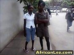 Dirty ebony sluts having girl-on-girl fun in bathroom