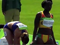 Dark-hued Black African Track Starlet Sexy Sway