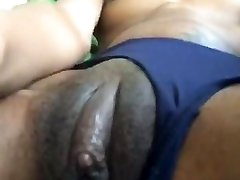 Black Gf PLAYING WITH HER FAT CLIT