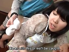 Subtitled Japanese risky sex with sensuous mummy in law