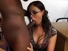 Female brunette white instructor with male black student - Interracial