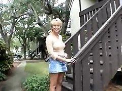 Gigantic blonde mom and a smallish black guy